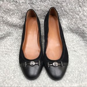 Coach Leila Ballet Flat black suede leather combo